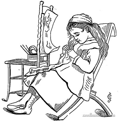 Girl Stitching Woodcut