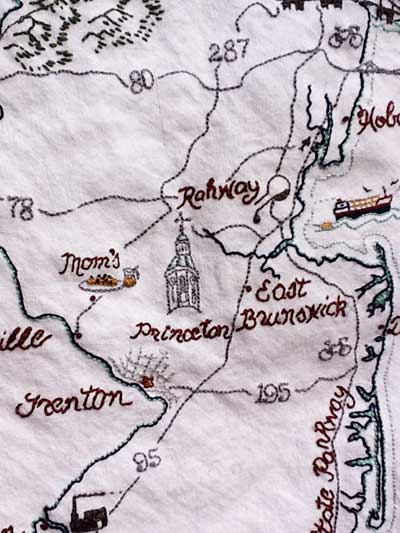 New Jersey Hand Embroidered Map