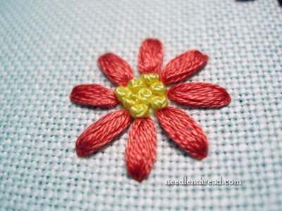 Granitos - hand embroidered leaves