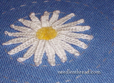Woven Picot Daisy Embroidered Flower