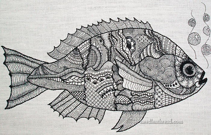 Hand Embroidery Project: Blackwork Fish
