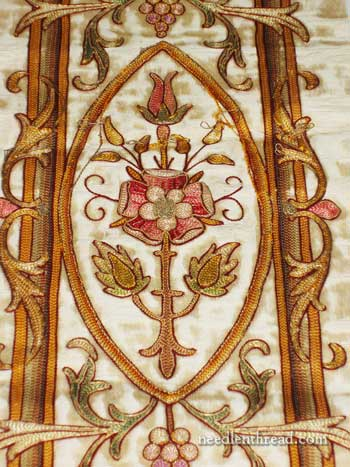 19th century silk and gold embroidered rose