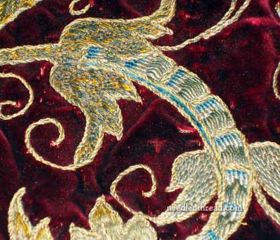 Old Goldwork Embroidery on Velvet