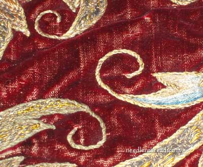 Antique Goldwork Embroidery on Velvet
