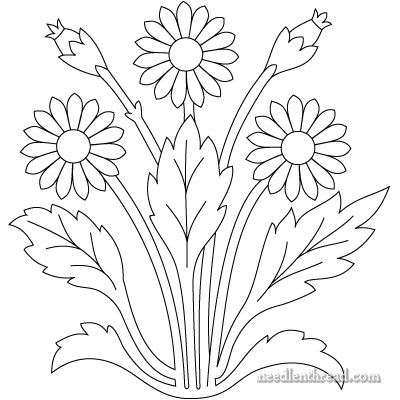 Hand Embroidery Pattern: Art Needlework Daisies