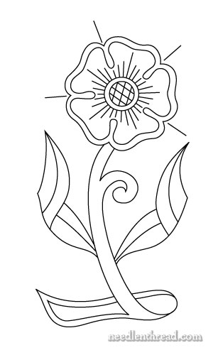 Free Hand Embroidery Pattern: Morris-style Rose