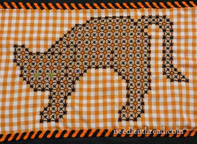 Gingham Embroidery - Black Cat