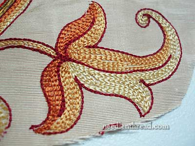 Old Silk & Goldwork Embroidery Fragment