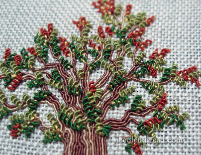 Embroidered Tree with Silk Gimp and Silk Wrapped Purl