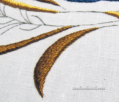 Satin stitch in silk thread