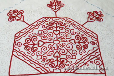 Hungarian Redwork Embroidery Runner
