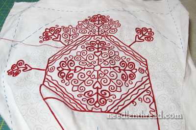 Hungarian Redwork Embroidered Table Runner