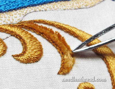 Padded Satin Stitch Silk Embroidery - Fixing a Mistake