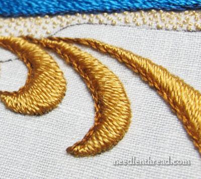 Padded Satin Stitch in Silk