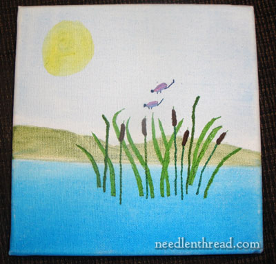 hand embroidery on painted canvas