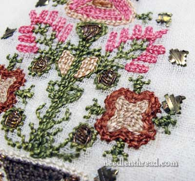 Embroidered Scarf in Silk & Metal Threads