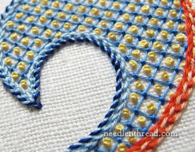 Lattice Stitch with French Knots