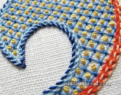 Lattice Stitch with French Knots