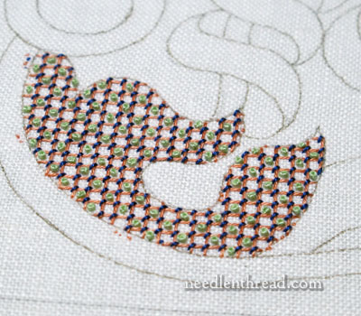 Lattice Filling Stitches on an Embroidery Sampler
