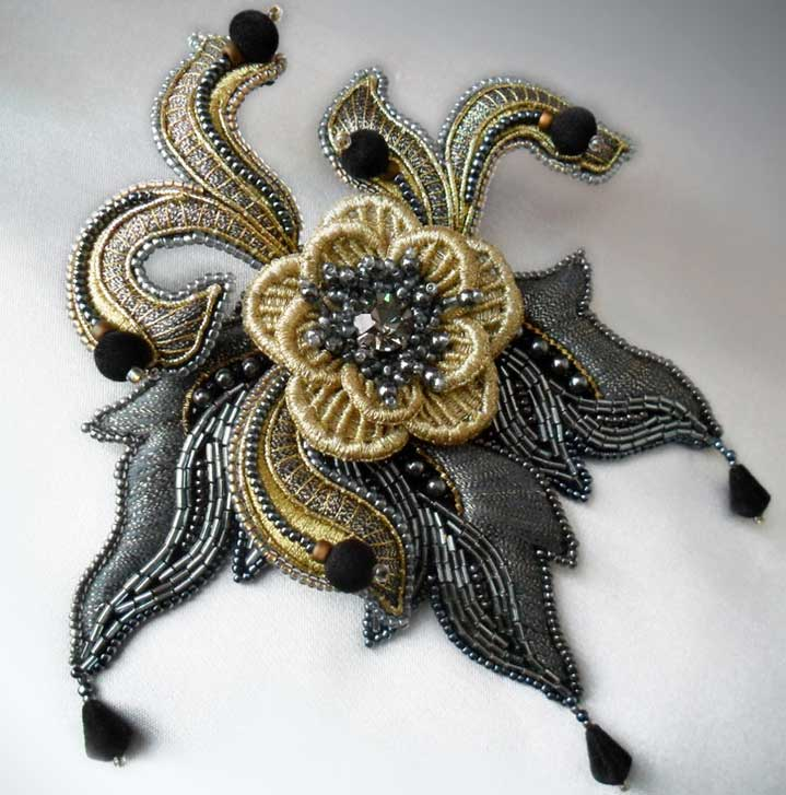 Metal Thread and Bead Embroidery by Elena Emelina