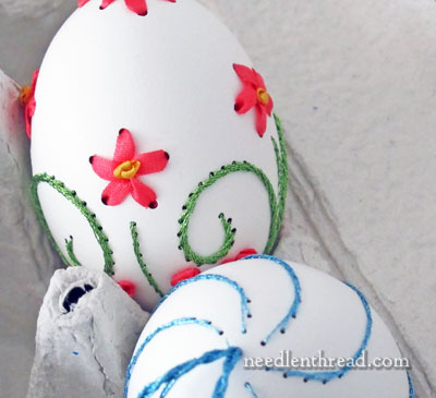 hand embroidery on eggs