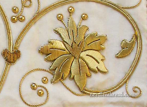 Raised Goldwork over Card Foundation