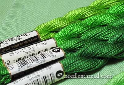 DMC Pearl Cotton #5 Greens