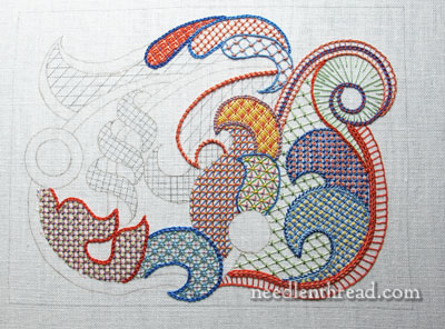 Stitch Fun lattice work embroidery sampler