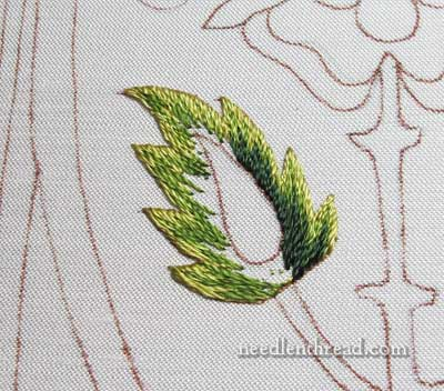 Mission Rose: Embroidered Leaf in Silk Shading