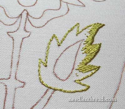 Mission Rose embroidery project: silk shading