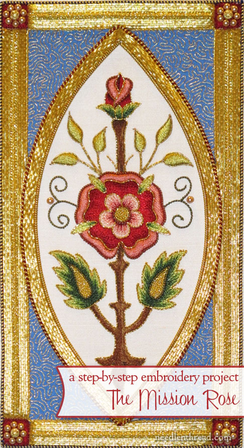 Mission Rose Embroidery Project in Silk & Gold