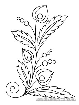 Free Hand Embroidery Pattern Czech Inspired Folk Flowers