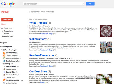 Reading Needle 'n Thread through RSS feed
