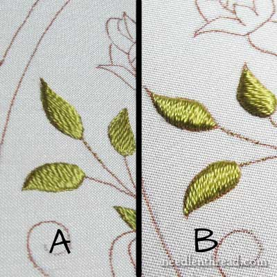 Padded Satin Stitch Leaves