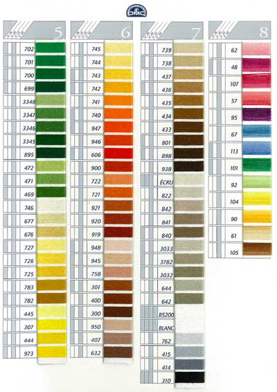 DMC Coton a Broder Thread Color Card