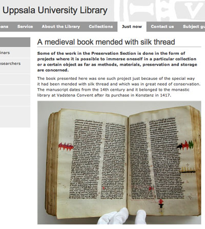 Medieval Manuscript Mended with Silk Thread