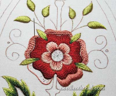 Mission Rose Silk Embroidery Satin Stitch