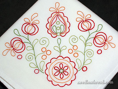 Hand embroidered towel - Citrus Flourish