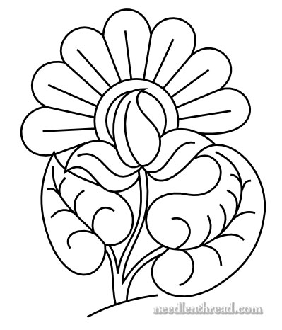 Free Hand Embroidery Pattern Exuberant Flower Needlenthread