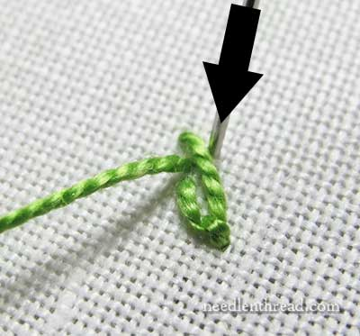 Fly Stitch Embroidered Leaves