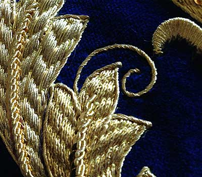 Goldwork Embroidery on Velvet