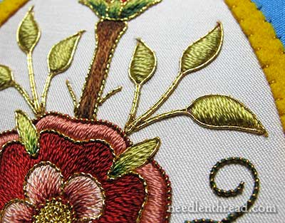 Goldwork embroidery on Mission Rose project