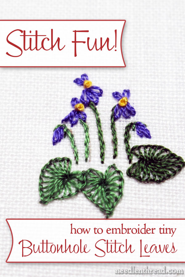 how to embroidery buttonhole stitch leaves