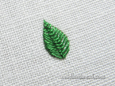 Closed Cretan Stitch Leaves