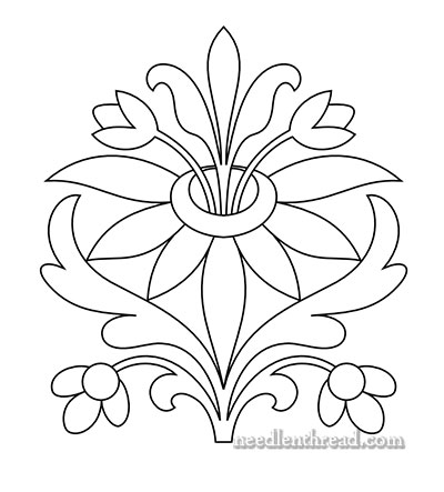 Asymmetrical Flower Drawing Free hand embroidery pattern: sprouting ...