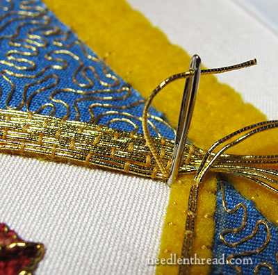 Mission Rose: Goldwork Thread Couched on Inner Frame