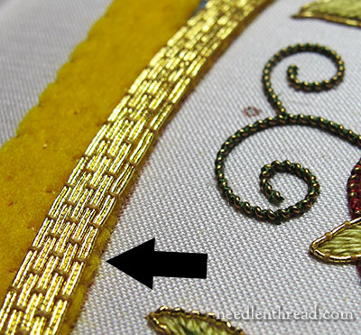 couched goldwork threads on Mission Rose project