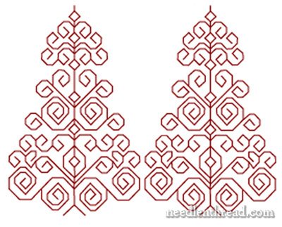 Blackwork Christmas Trees Embroidery Pattern