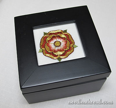 Goldwork & Silk Tudor Style Rose Finish