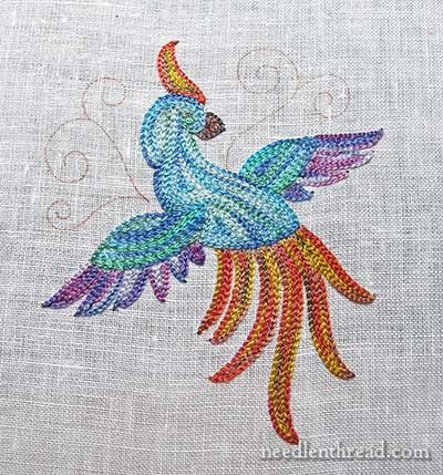 Tambour Embroidery Project - Bird of Paradise - Finished
